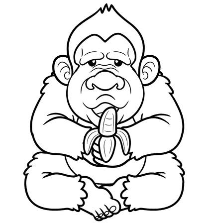 chimpances: Ilustraciones Vectoriales de Mono de la historieta - Coloring book