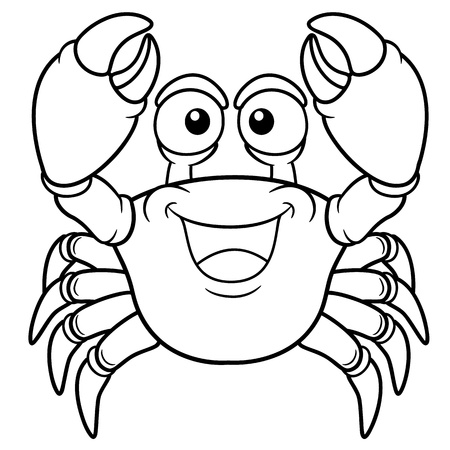 marine crustaceans: Vector illustration of Cartoon crab - Coloring book Illustration