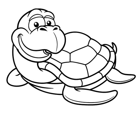 Vector illustration of Cartoon turtle - Coloring book Stock Vector - 18588026