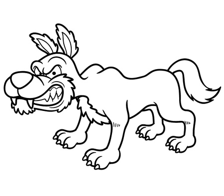 illustration of Wolf cartoon - Coloring book Vector