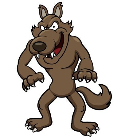 the wolf: illustrazione del lupo cartone animato Vettoriali