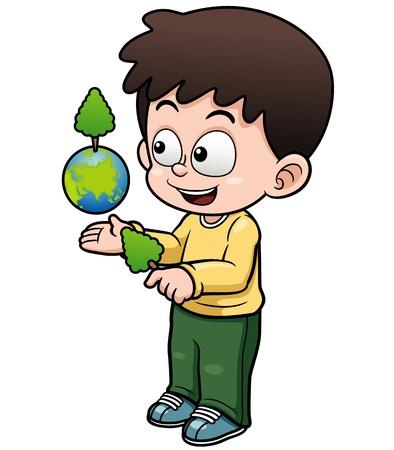 planeta tierra feliz: Ilustraci�n vectorial de Muchacho que sostiene la tierra del planeta