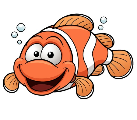 marine fish: Vector illustration of Happy Clownfish Cartoon Illustration