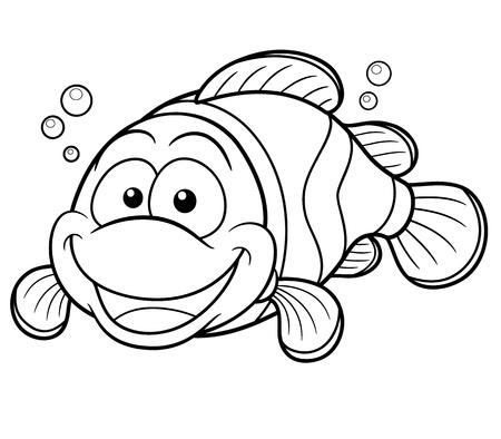 pez payaso: Ilustraci�n vectorial de dibujos animados Clownfish feliz - Coloring book Vectores