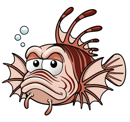 Vector illustration of lionfish cartoon Vector
