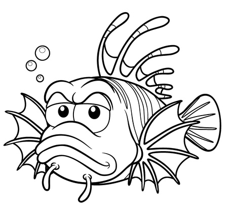 lion fish: Vector illustration of lionfish cartoon - Coloring book