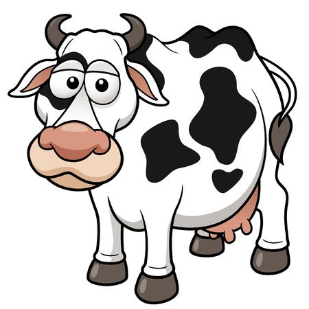 vaca caricatura: Ilustraci�n vectorial de la historieta de la vaca Vectores