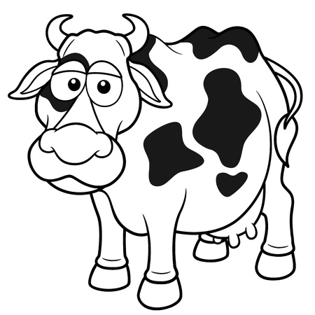 Vector illustration of Cow cartoon - Coloring book Vector