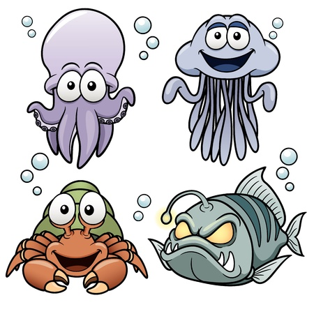 Vector illustration of Sea Animals cartoon Vector