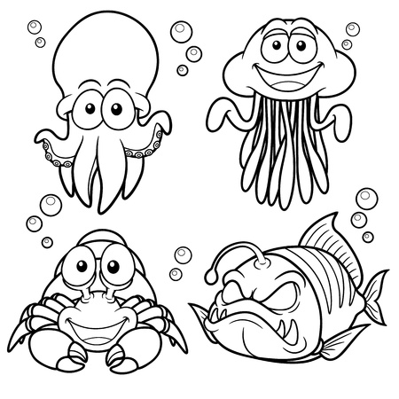 calamari: Illustrazione vettoriale di Sea Animals cartoon - libro da colorare Vettoriali