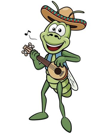 grasshoppers: Vector illustration of green grasshopper Illustration