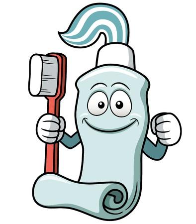 pasta dental: Ilustración vectorial de Cepillo de dientes y pasta de dientes de dibujos animados Vectores