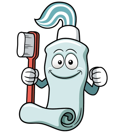 Vector illustration of Toothbrush and toothpaste cartoon Vector