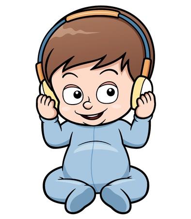 listening music: illustration of baby cartoon