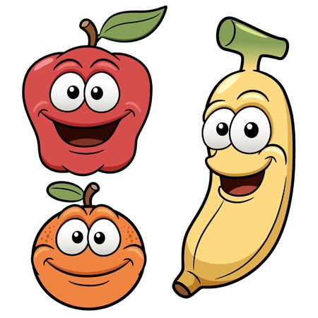 illustration of Happy cartoon fruits Vector