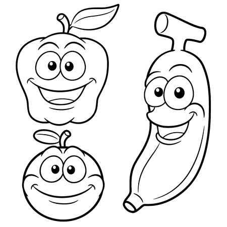 illustration of Happy cartoon fruits - Coloring book Vector