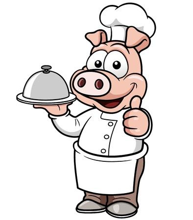cerdo caricatura: ilustración de dibujos animados de cerdo cocinero
