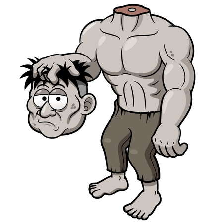 cartoon frankenstein:  of illustration of Cartoon zombie headless