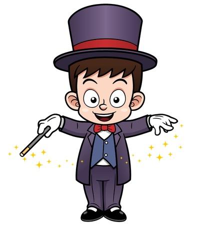 mago: ilustración de dibujos animados Boy Mago Vectores