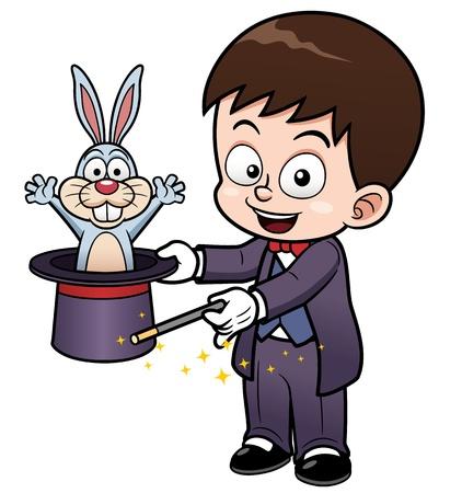 conejo caricatura: ilustraci�n de dibujos animados mago Vectores