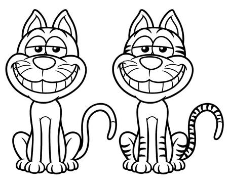 gato caricatura: ilustración de dibujos animados del gato - Coloring book Vectores