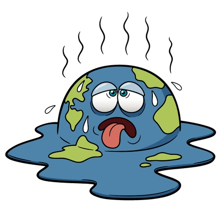 Vector illustration of Earth in Hot Weather Vector