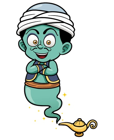 vector lamp: Vector illustration of genie just came out of the lamp Illustration