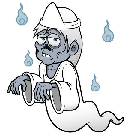 good night: Vector illustration of Cartoon ghost