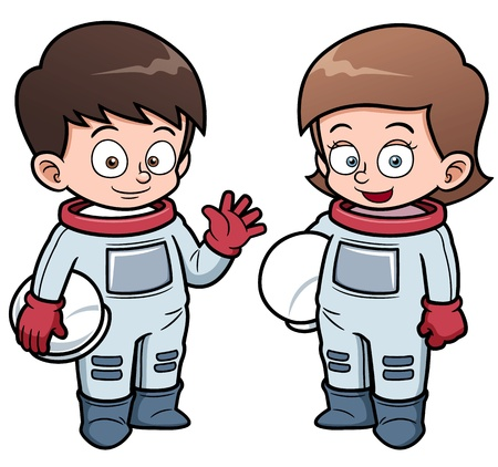 astronauts:  illustration of Cartoon astronaut kids