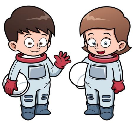 ilustración de dibujos animados los niños de astronautas