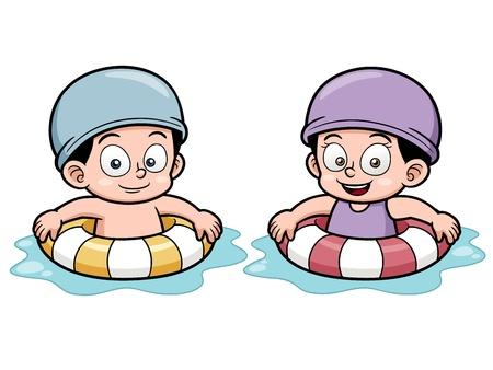 girls bathing:  illustration of Kids swimming