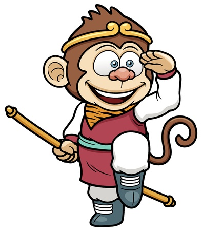 cute cartoon monkey: Vector illustration of monkey king