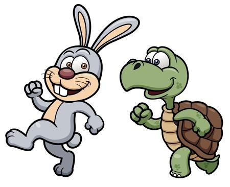 small reptiles: illustrazione di cartone animato di coniglio e la tartaruga Vettoriali