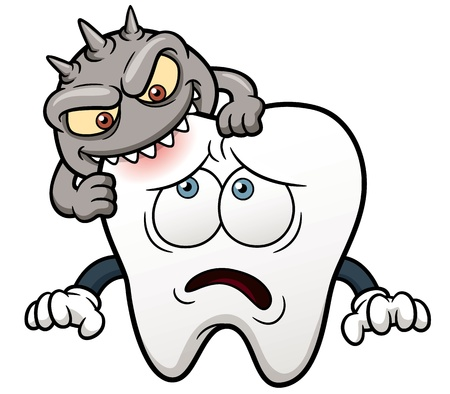 cavities:  illustration of Cartoon tooth Illustration