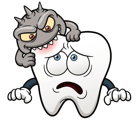 mal di denti: illustrazione del cartone animato dente