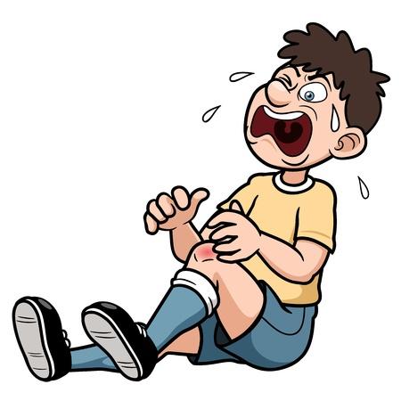 de rodillas: Ilustración vectorial de un hombre con una lesión en la pierna dolorosa Vectores