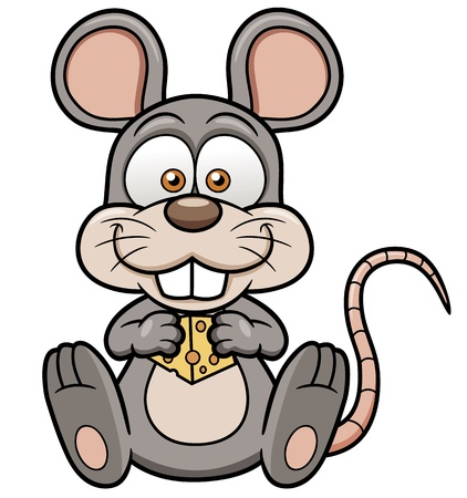 Vector illustration of cartoon rat  with cheese Vector