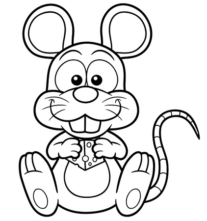 Vector illustration of cartoon rat  with cheese - Coloring book Vector