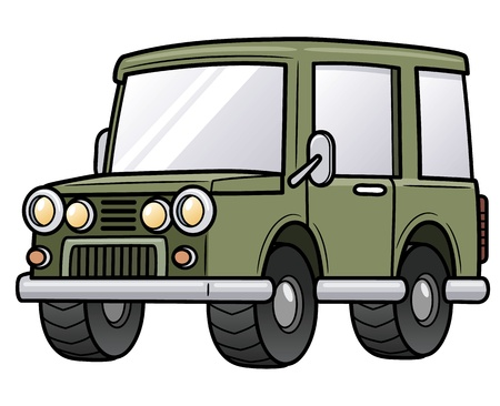 Vector illustration of cartoon jeep