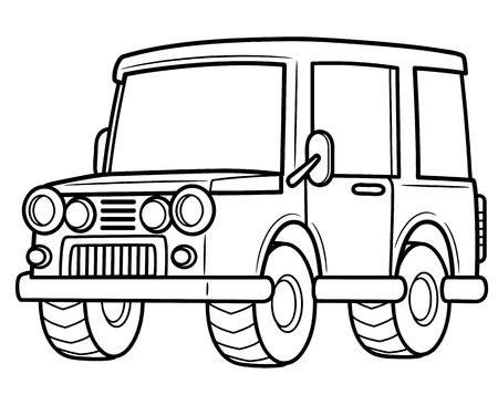 jeep: Vector illustration of cartoon jeep - Coloring book