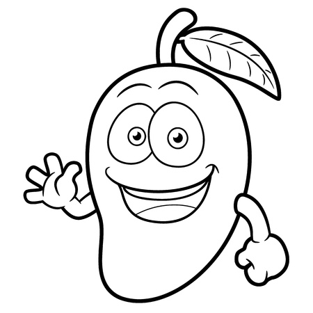mangoes: Vector illustration of a Mango Character - Coloring book
