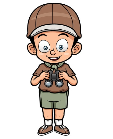 Vector illustration of Boy scout holding binoculars