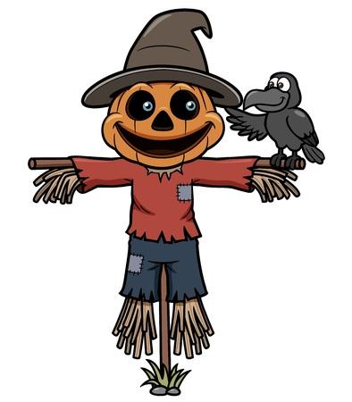 espantapajaros: Ilustración vectorial de dibujos animados espantapájaros Vectores