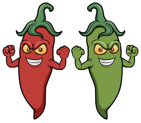 red hot pepper: Vector illustration of cartoon chili peppers
