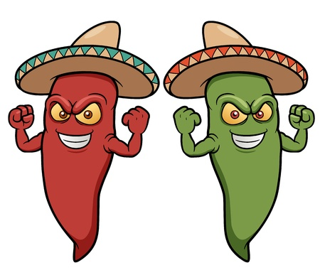 peppers: Vector illustration of cartoon chili peppers wearing sombreros