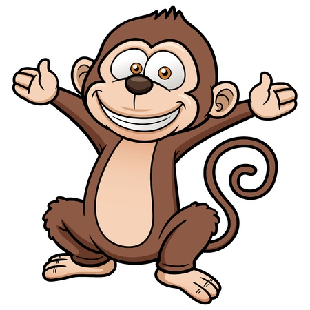 chimpanzees: Vector illustration of Cartoon Monkey