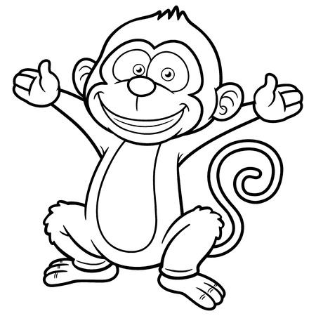 jungle jumping: Vector illustration of Cartoon Monkey - Coloring book