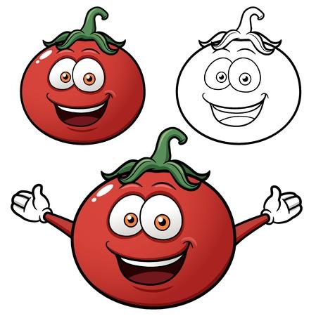 funny tomatoes: Vector illustration of cartoon tomato