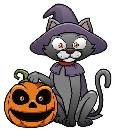 halloween cartoon: illustration of black cat with Halloween pumpkin
