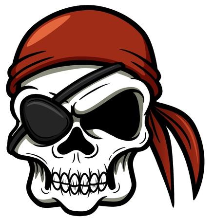 calavera pirata: ilustración del pirata del cráneo